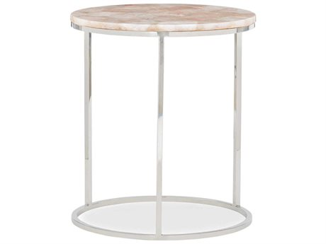 Caracole Classic Rose Quartz Stone / Brass 18'' Wide Round End Table CACCLA018423