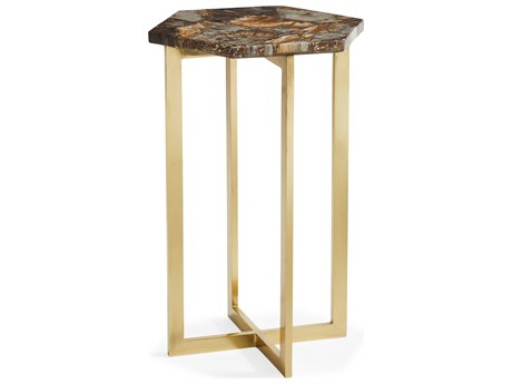 Caracole Classic Brownn Petrified Stone / Brass 12'' Wide Hexagon End Table