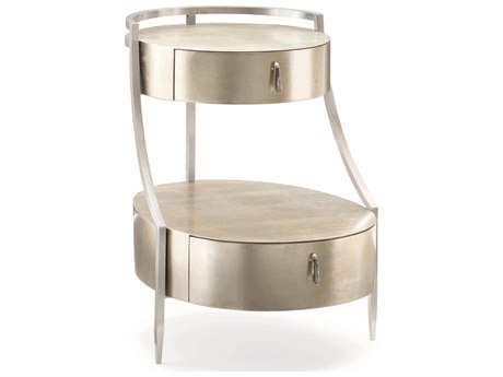 Caracole Classic Soft Silver Leaf / Lightly Brushed Chrome 20''W x 25''D Oval Two-Tier End Table CACCLA417412