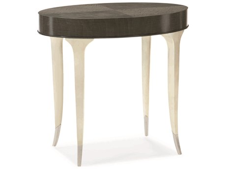 Caracole Classic Midnight Maple / Soft Silver Leaf 26''W x 17''D Oval End Table