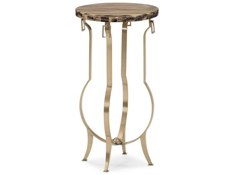 Caracole Classic Stone Top / Champagne Gold 12'' Wide Round End Table