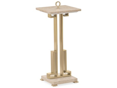 Caracole Classic Polished Marble / Champagne Gold 11'' Wide Square End Table CACCLA4184211