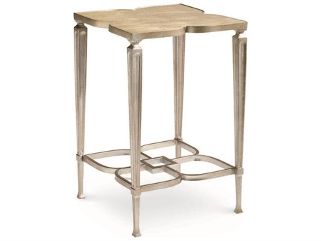 Caracole Classic Clover Taupe Silver Leaf 16'' Wide Square End Table CACCONACCTAB018