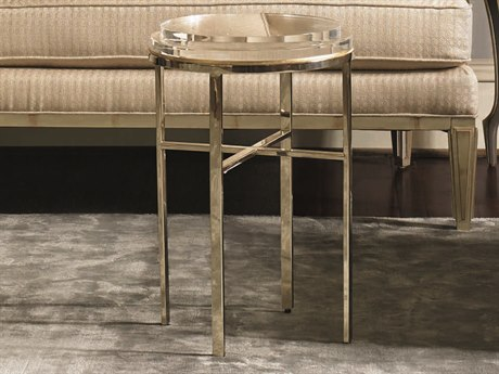 Caracole Classic Acrylic Crystal / Gold Bullion 14''Wide Round End Table