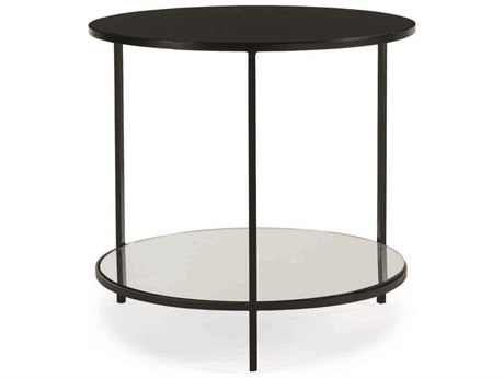 Caracole Classic Matte Black 28'' Wide Round End Table