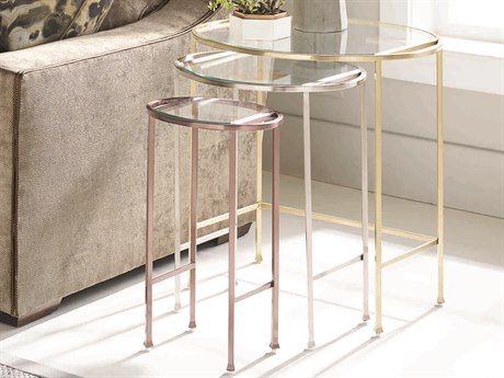 Caracole Classic Brushed Gold/ Nickel/ Blush 25''W x 21''D Oval Nesting Table CACCLA016472