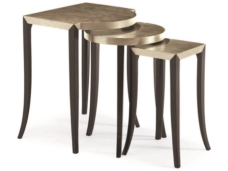 Caracole Classic Taupe Silver / Satin Ebony 22''W x 21''D Nesting Table CACCONSIDTAB004