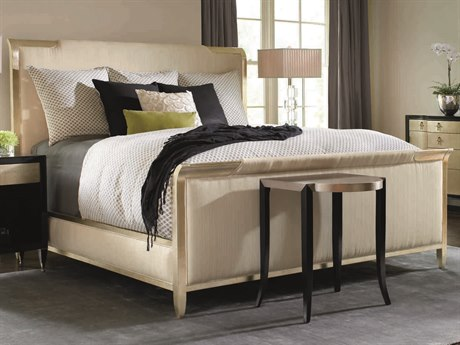 Caracole Classic Beige / Gold Queen Size Panel Bed