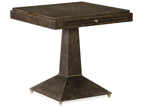 Caracole Classic Back to Square One Sepia Burl 24'' Wide Square Pedestal Table