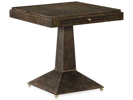 Caracole Classic Back to Square One Sepia Burl 24'' Wide Square Pedestal Table CACCLA0174119