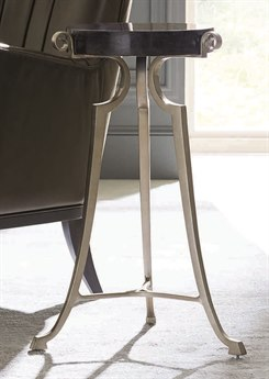 Caracole Classic Black Granite / Lightly Brushed Chrome 20'' Wide Round Pedestal Table