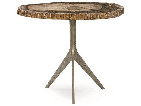 Caracole Classic Martini Petrified Wood / Dark Bronze 27''W x 21''D Pedestal Table
