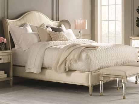 Caracole Classic Cream / Auric Silver Leaf King Size Wing Platform Bed CACCLA016123