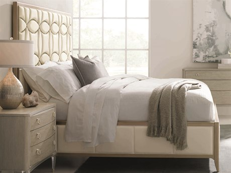 Caracole Classic White / Taupe King Size Platform Bed CACCONKINBED013