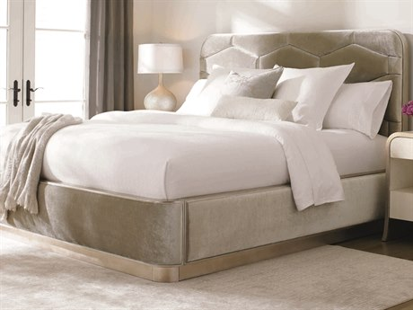 Caracole Classic Oracle Silver Leaf Queen Size Platform Bed CACCONQUEBED015