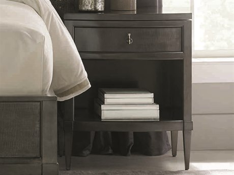 Caracole Classic Charcoal Anegre / Seal Skin 24''W x 21''D Rectangular Nightstand with Open Storage CACCLA016063