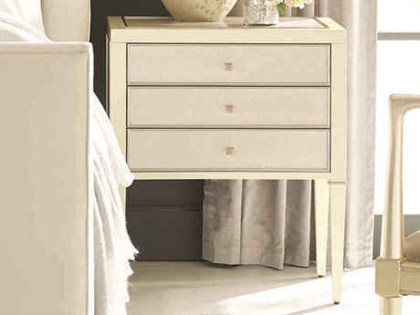 Caracole Classic Birdseye Pure Ivory / Sheer Ecru with Soft Radiance 24''W x 18''D Rectangular Nightstand CACCLA016066