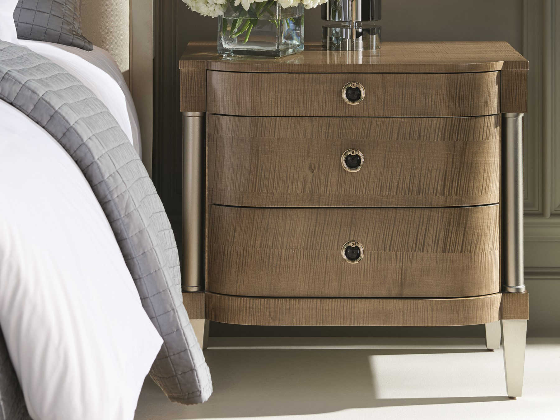 Caracole Classic Eye Of The Tiger Toasted Sycamore Afterglow 30 W X 20 D Rectangular Nightstand