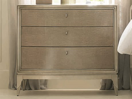 Caracole Classic Moonlit Sand / Soft Silver Leaf 36''W x 18''D Rectangular Nightstand CACCLA417061
