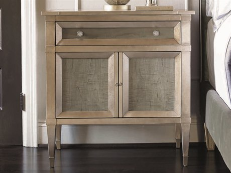 Caracole Classic Taupe Silver Leaf / Smoke 31''W x 18''D Rectangular Nightstand