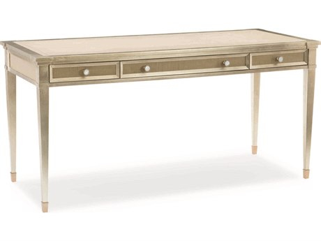 Caracole Classic Smoke with Taupe Silver Leaf / Platinum 62''W x 26''D Rectangular Secretary Desk CACCLA417451