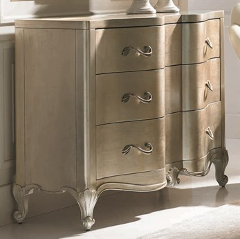 Caracole Classic French-Inspired Auric Silver Leaf Three-Drawer Single Dresser CACCLA416022