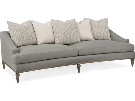 Caracole Classic Granite Grey / Taupe Silver Sofa Couch CACUPH418011A