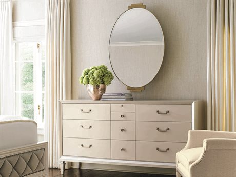 Caracole Classic Pearl Ten-Drawers Triple Dresser with Wall Mirror Set
