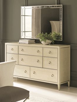 Caracole Classic Pure Eight-Drawer Triple Dresser with Wall Mirror Set