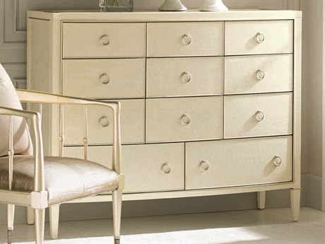 Caracole Classic Birdseye Pure Ivory / Sheer Ecru with Soft Radiance Eleven-Drawer Triple Dresser CACCLA016054