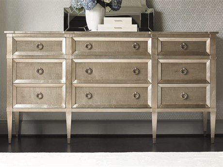 Caracole Classic Taupe Silver Leaf / Smoke Nine-Drawer Triple Dresser CACTRACLOSTO037