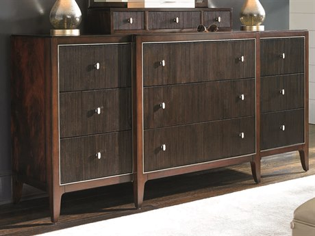 Caracole Classic Casual Reeded Fronts Espresso Bean / Grain Mahogany Nine-Drawer Triple Dresser CACTRACLOSTO046
