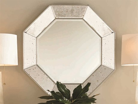 Caracole Classic Antique Mirror with Warm Gold 38'' Wide Hexagon Wall Mirror CACCONMIRROR005
