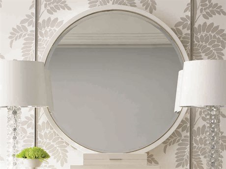 Caracole Classic Dove White / Gold Bullion 36'' Wide Round Wall Mirror CACCONMIRROR021