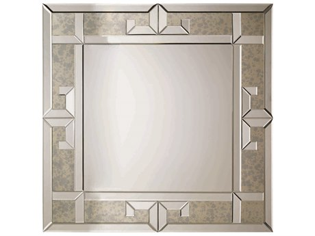 Caracole Classic Greek Key Antique Mirror 38'' Wide Square Wall Mirror CACTRAMIRROR008