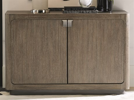 Caracole Modern Fusion Ashen Oak with Delicate Grey Glass Cerused Accent Cabinet CAMM051017462