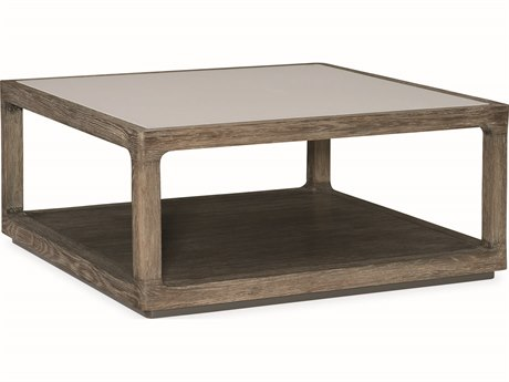 Caracole Modern Fusion Delicate Grey Glass with Ashen Oak & Warm Slate 38'' Wide Square Cocktail Table CAMM051017402