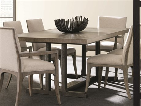 Caracole Modern Fusion Ashen with Charred Oak 84-106''W x 45''D Rectangular Trestle Dining Table with Extension