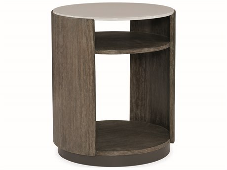 Caracole Modern Fusion Delicate Grey Glass with Ashen Oak 22'' Wide Round End Table