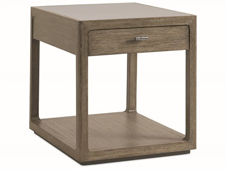 Caracole Modern Fusion Delicate Grey Glass with Ashen Oak 28''W x 22''D Rectangular End Table
