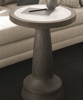 Caracole Modern Fusion Polished Carrara Marble with Charred Oak 19'' Wide Round Pedestal Table