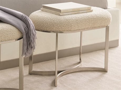 Caracole Modern Grace White / Brushed Stainless Accent Bed Bench CAMM083418082
