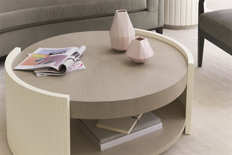 Caracole Modern Grace Serene Dark Taupe / Almost White 40'' Wide Tranquil Cocktail Table CAMM081418402