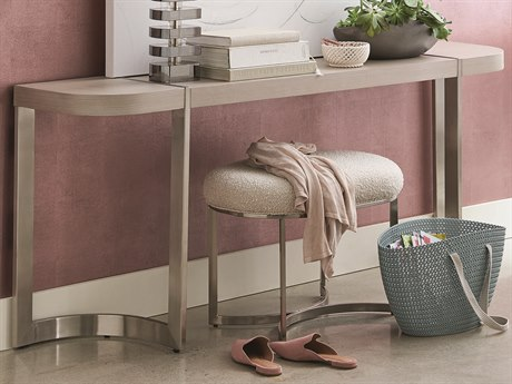 Caracole Modern Grace Serene Dark Taupe / Brushed Stainless 72''W x 15''D Demilune Console Table CAMM081418441