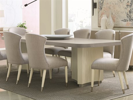 Caracole Modern Grace Serene Dark Taupe / Almost White / Tranquil Gray 86-110''W x 44''D Rectangular Dining Table with Extension