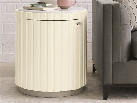 Caracole Modern Grace White Marble / Almost White with Tranquil Grey 22'' Wide Round Drum Table