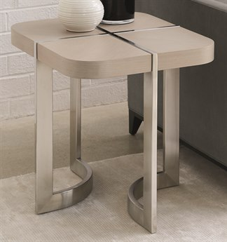 Caracole Modern Grace Serene Dark Taupe / Brushed Stainless 22''W x 26''D Rectangular End Table