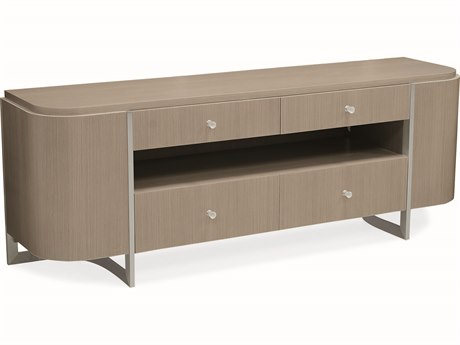 Caracole Modern Grace Serene Dark Taupe / Brushed Stainless 72''W x 18''D Rectangular Console Table CAMM081418532