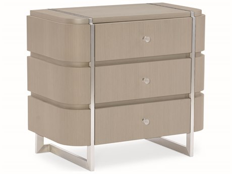 Caracole Modern Grace Serene Dark Taupe / Brushed Stainless Three-Drawer Nightstand CAMM083418061