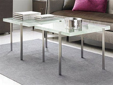 Caracole Modern Metro Cast Glass with Light Brushed Chrome 29'' Wide Square Cocktail Table CAMMETCOCTAB008